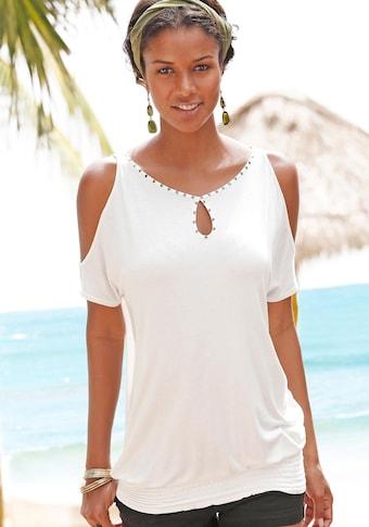 LASCANA Kurzarmshirt, mit raffiniertem Ausschnitt