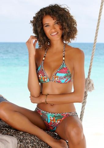 Bruno Banani Triangel-Bikini, mit Mustermix und Zierperlen