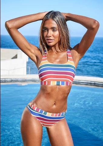LASCANA Bustier-Bikini-Top »Rainbow Collection«, mit gekreuzten Trägern