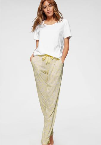 Schiesser Pyjama, mit dezentem Blumenmuster und Spitzendetails