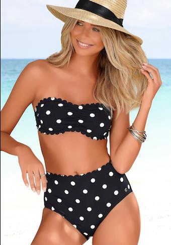 LASCANA Bandeau-Bikini-Top »Jada«, mit Muschelkante und Pünktchendruck