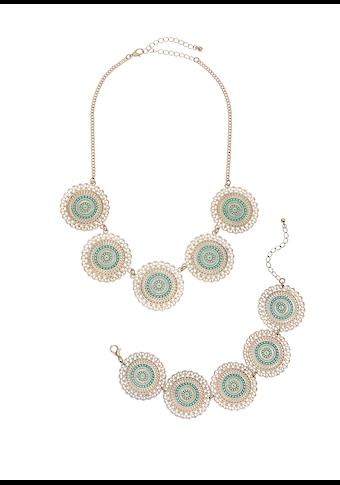 LASCANA Schmuckset, aus Kette und Armband mit Ornamentplättchen