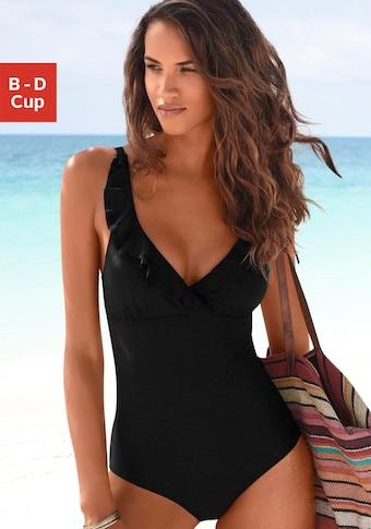 JETTE Badeanzug, mit eleganter Rüsche und Shaping-Effekt