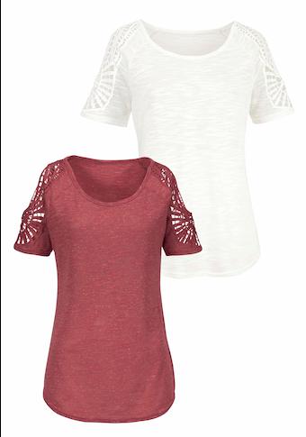 Vivance T-Shirt, mit modischer Häkelspitze