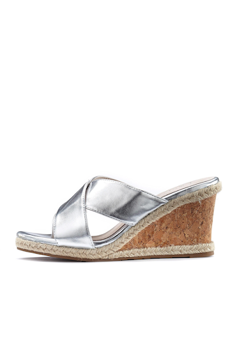 LASCANA High-Heel-Pantolette, mit Keilabsatz in Metallic-Optik