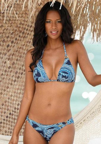 LASCANA Bikini-Hose »Boho«, mit goldfarbenen Zierringen und Paisleymuster