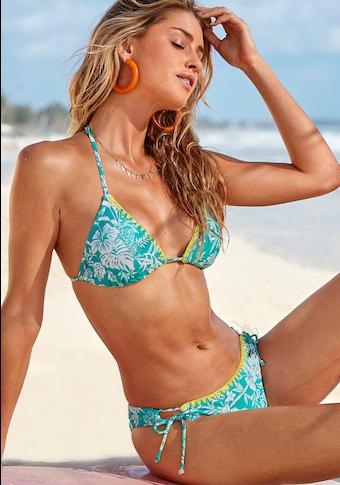 Venice Beach Triangel-Bikini, mit kontrastfarbener Häkelkante